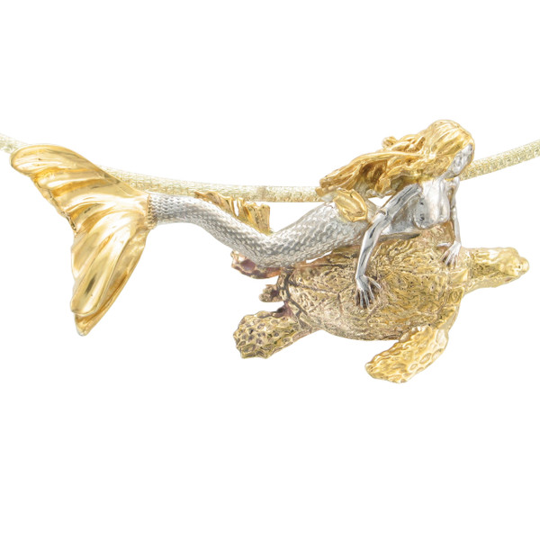 """Seguina"" Mermaid with 14K Turtle Pendant"