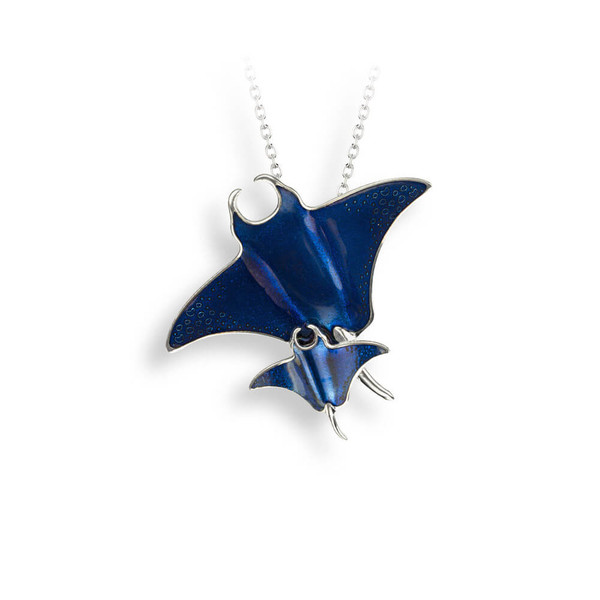 Sterling Silver Blue Manta Ray Necklace