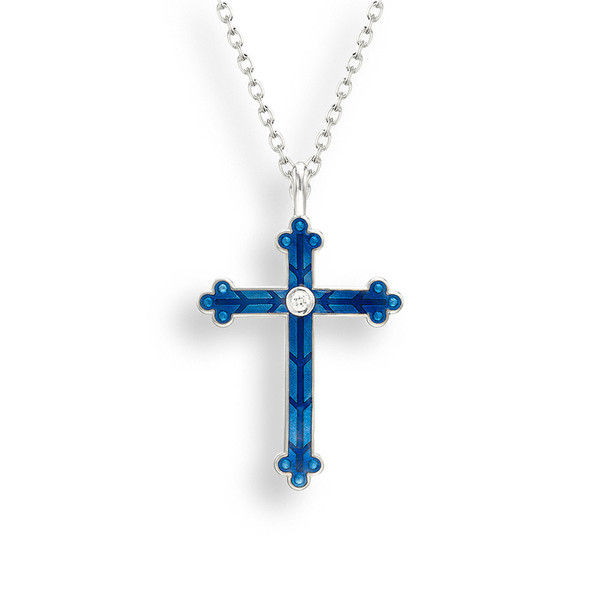 SS Cross Necklace, Blue w-White Sapphires