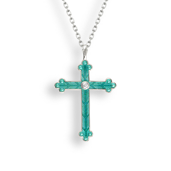 SS Cross Necklace, Green w-White Sapphires