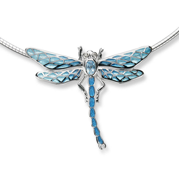 Sterling Silver Dragonfly Necklace-Blue
