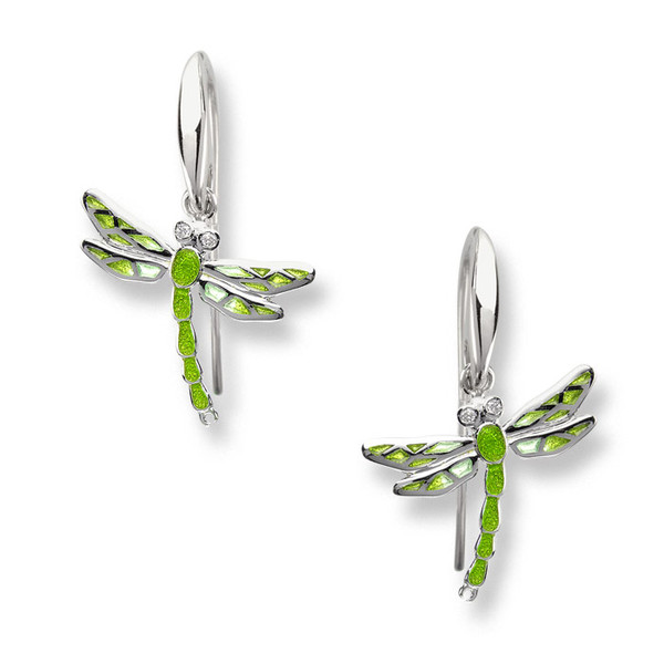 Dragonfly Wire Earrings-Green