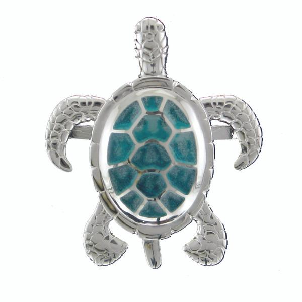 SS Rhodium Sea Turtle Multi - Green