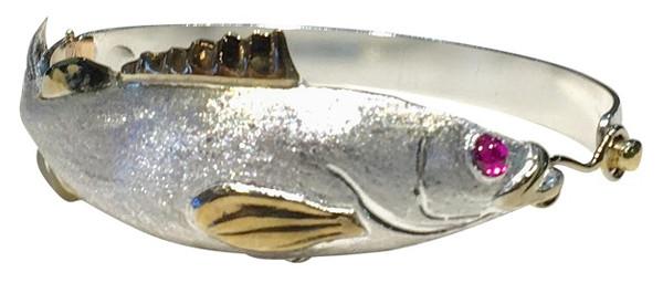 Grouper Bracelet in Sterling Silver and 14kyg