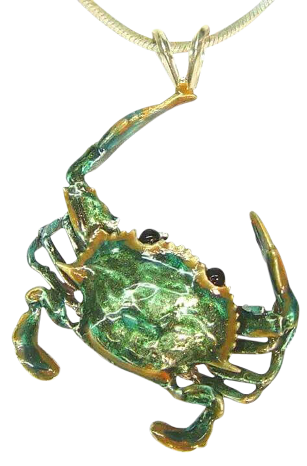 """Pinch"" the Crab pendant in Sterling Silver w/enameling"