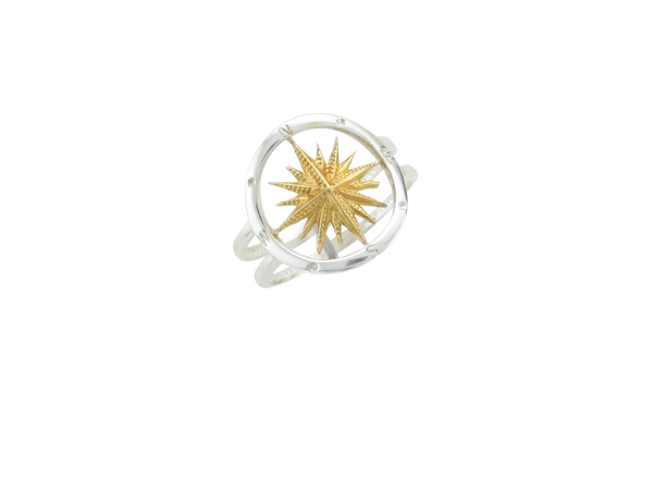2 Tone Compass Ring w/gold Vermeil