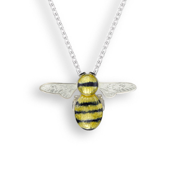 Sterling Silver Bee Necklace. Yellow-Black