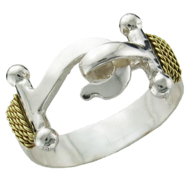 Hook Ring -Sterling Silver w/14k Gold Roping