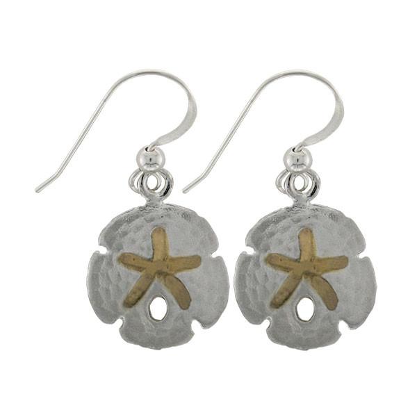 Sand Dollar earrings - Sterling Silver/24k vermeil