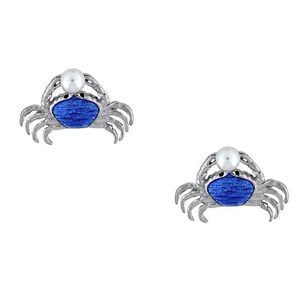 Crab Stud Earrings-Blue