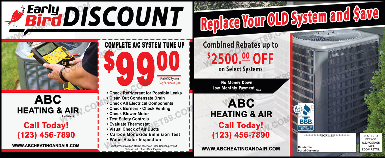 Postcards For Air Conditioning & Heating (HVAC) Contractors - EDDM