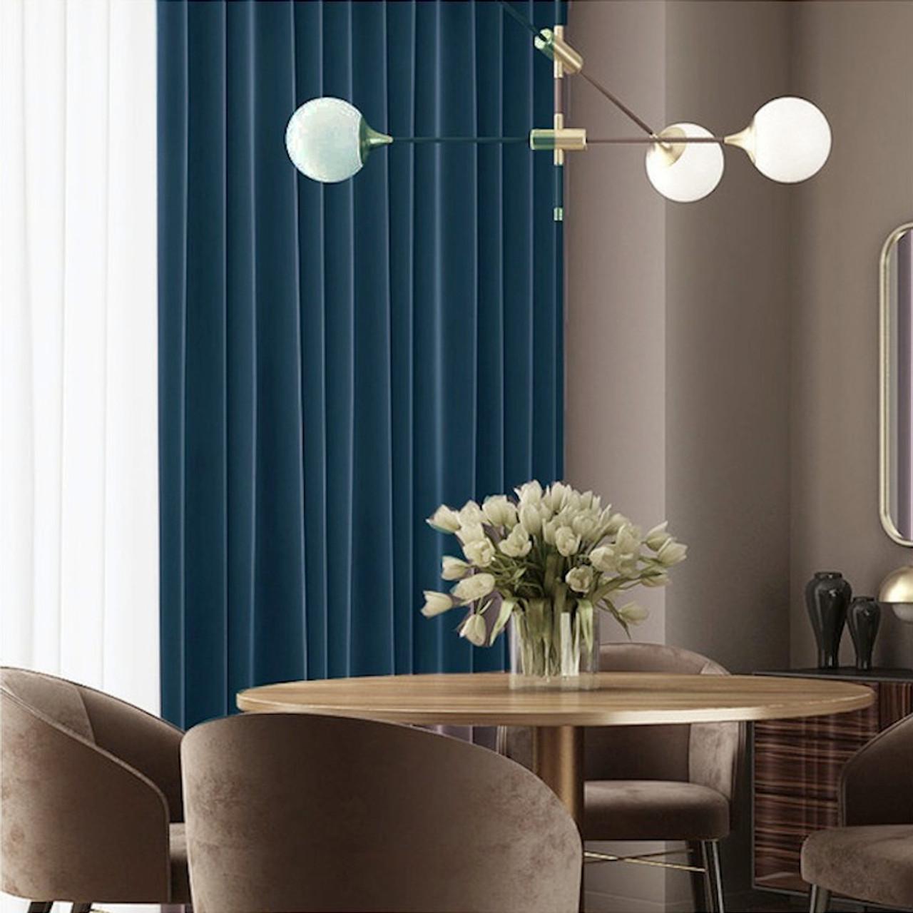 Velvet Lux Custom Made Curtains 100 Blockout Navy Blue