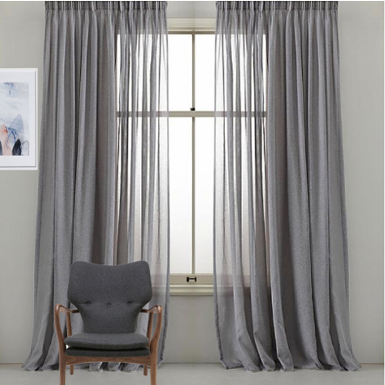 Bristol Pinch Pleat Sheer Curtains Grey Quickfit