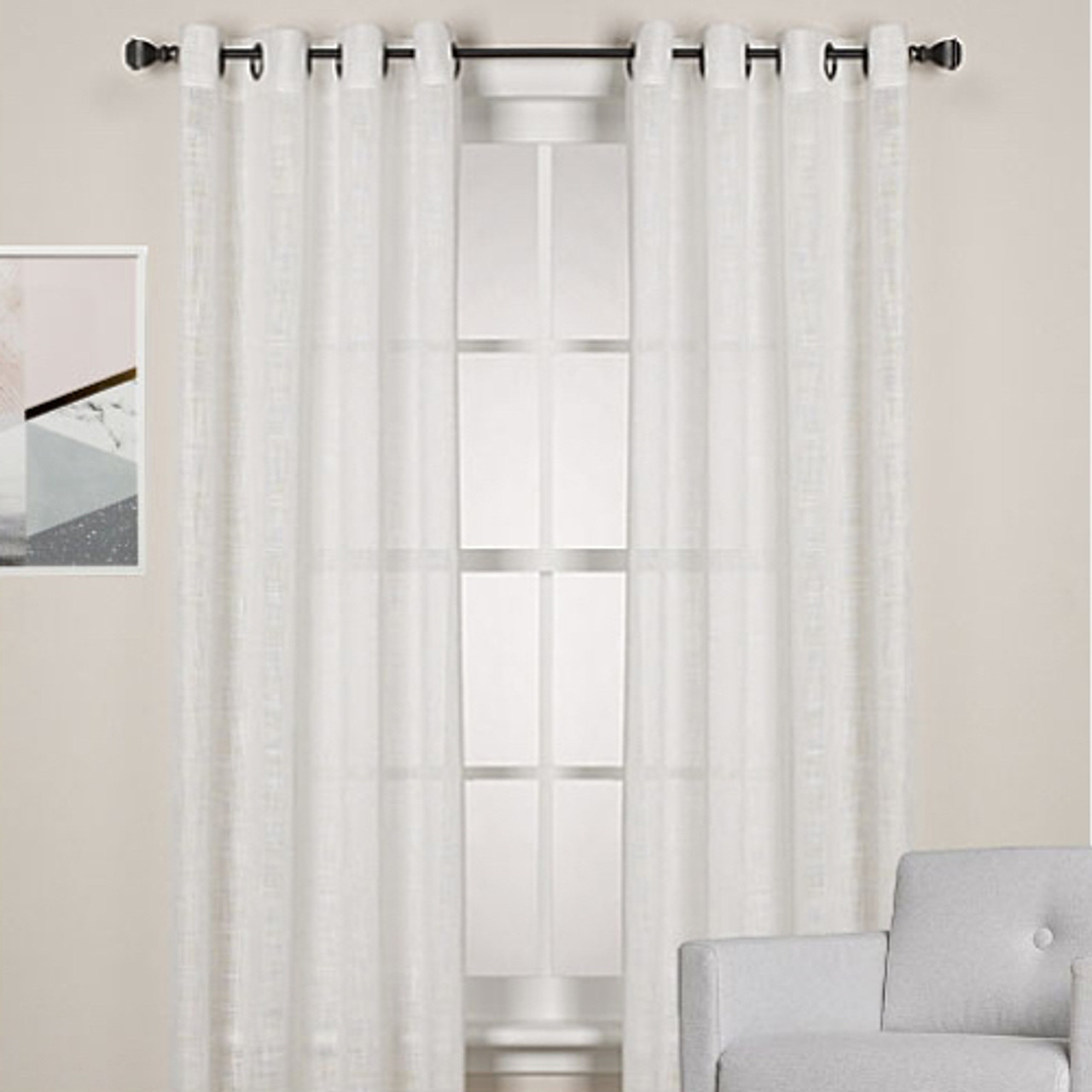 Homespun Linen Look Sheer Eyelet Curtain Panel White