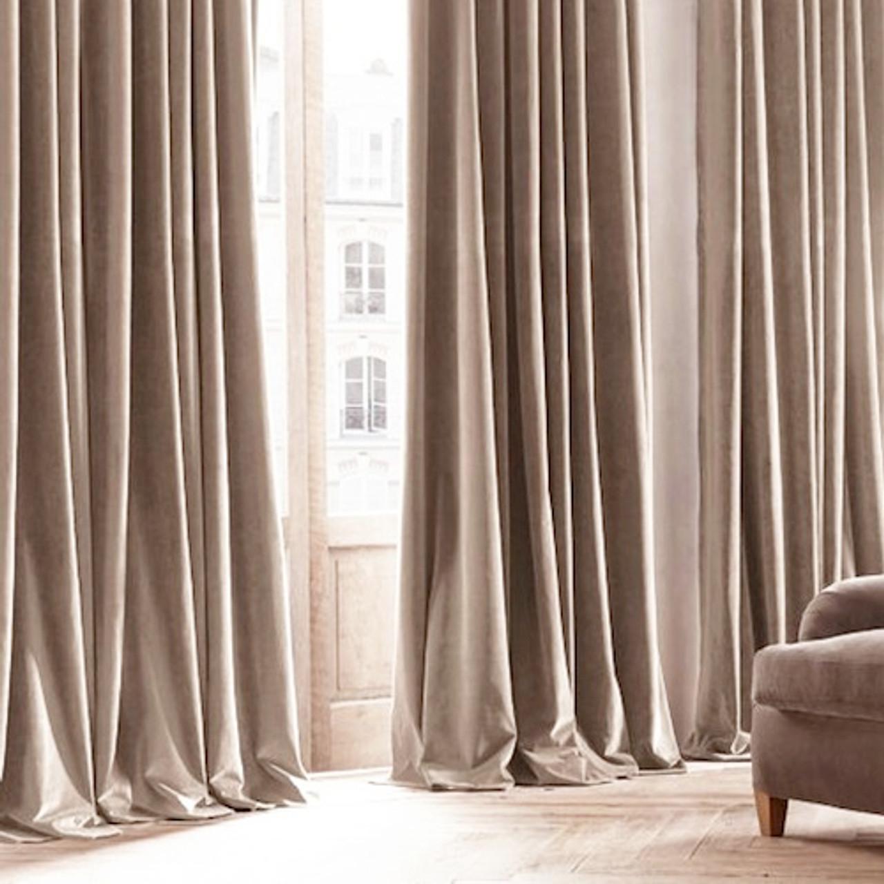 Velvet Custom Made Curtains 100 Blockout Beige Quickfit