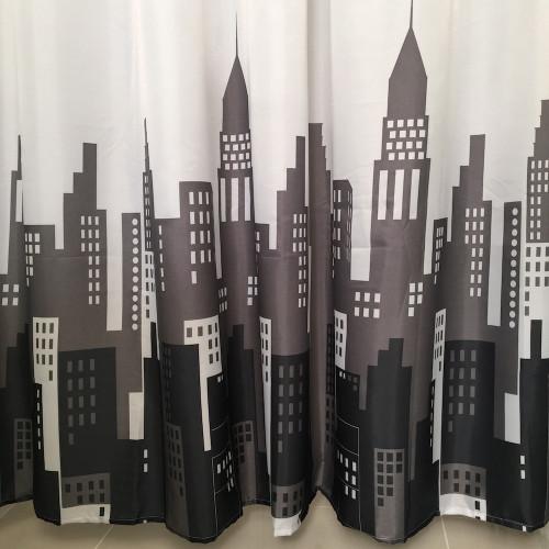 Shower Curtain Set 12 Decorative Hooks City Buildings