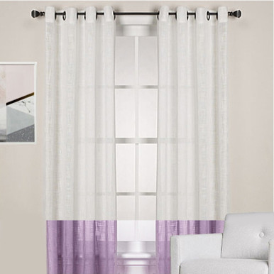 Homespun Linen Look Sheer Eyelet Curtain Panel White Purple