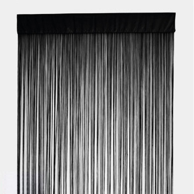 String Curtain Panel Room Divider Rod Pocket Black
