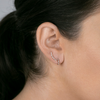 Rose Gold-2^Earring Climbers: Sadie Pearl Baguette Single Row Climbers in Rose Gold
