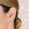 Yellow Gold-2^Earring Climbers: Sadie Pearl Baguette Single Row Climbers in Yellow Gold