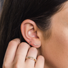 Yellow Gold-3^Earring Climbers: Sadie Pearl Baguette Single Row Climbers in Yellow Gold