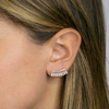 White Gold-2^Earring Climbers: Sadie Pearl Baguette Fan Climbers in White Gold