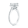 Halo Skinny Pave Bridal Ring with 2.01 ct Radiant