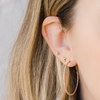 Rose Gold-2^Gold Diamond Hoops: DRD Medium Large Hoops in Rose Gold
