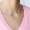 Rose Gold-2^Diamond Bar Necklaces: Alexa Jordyn Marquise Curve Necklace in Rose Gold