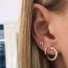White Gold-2^Earring Climbers: Sadie Pearl Baguette Wraps in White Gold