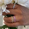 DC-Rose Gold-Pink Sapphire-3^Sapphire Rings: Kristyn Kylie Baguette Sapphire Eternity Ring In 14K Rose Gold
