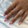 DC-Rose Gold-Pink Sapphire-4^Sapphire Rings: Kristyn Kylie Baguette Sapphire Eternity Ring In 14K Rose Gold
