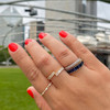 DC-Yellow Gold-Blue Sapphire-2^Sapphire Rings: Kristyn Kylie Baguette Sapphire Eternity Ring In 14K Yellow Gold