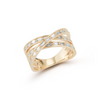 Yellow Gold-1^Diamond Cocktail Rings: Sadie Pearl Baguette Crossover Ring in Yellow Gold