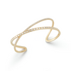 Yellow Gold-1^Diamond Cuff Bracelets: Sadie Pearl Baguette Crossover Cuff in Yellow Gold