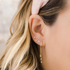Yellow Gold-3^Designer Stud Earrings: Sadie Pearl Double Baguette Studs in Yellow Gold
