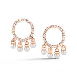 Rose Gold-1^Designer Stud Earrings: Pearl Ivy Open Circle Charm Studs in Rose Gold