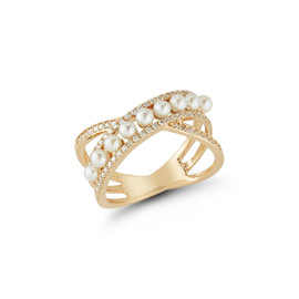 Pearl Ivy Pave Crossover Ring