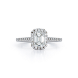 Halo Pavé Cathedral Bridal Ring with 1.04ct. Emerald Cut