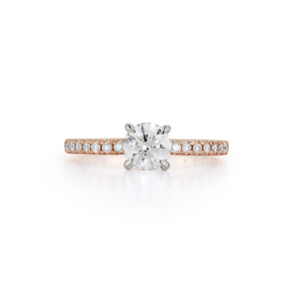 Pavé Hidden Halo Engagement Ring with 0.71 ct. Round Brilliant