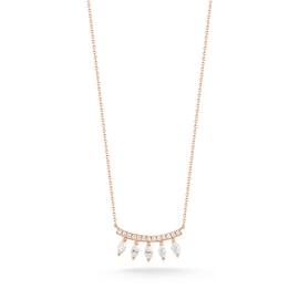 Rose Gold-1^Diamond Bar Necklaces: Alexa Jordyn Marquise Curve Necklace in Rose Gold