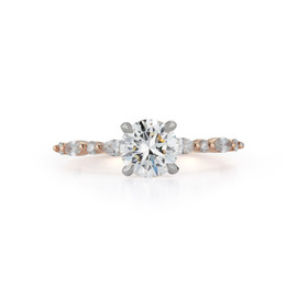 Marquise and Round Engagement Ring with 1.01 ct. Round Brilliant