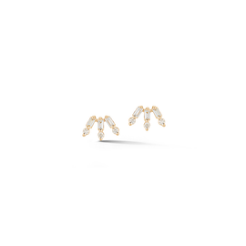 Yellow Gold-1^Designer Stud Earrings: Sadie Pearl Baguette and Round Fan Studs in Rose Gold