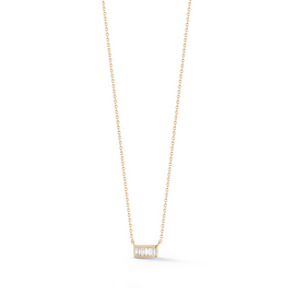 Rose Gold-1^Diamond Bar Necklaces: Sadie Pearl Channel Set Mini Baguette Bar Necklace in Rose Gold