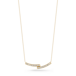 Diamond Bar Necklaces: Sadie Pearl Stacked Curved Baguette Bar Necklace