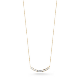 Diamond Bar Necklaces: Sadie Pearl Curved Baguette Bar Necklace