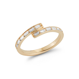 Bypass Rings: Sadie Pearl Baguette Channel Bypass Ring