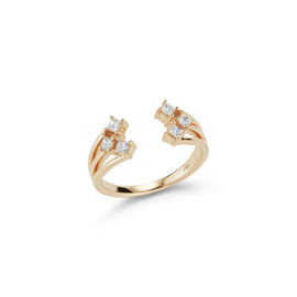 Yellow Gold-1^Diamond Cocktail Rings: Millie Ryan Open Princess Cut Ring in Yellow Gold
