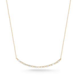 Yellow Gold-1^Diamond Bar Necklaces: Sadie Pearl Baguette Long Bar Necklace in Yellow Gold