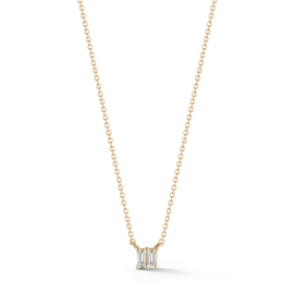 Yellow Gold-1^Diamond Pendant Necklaces: Sadie Pearl Double Baguette Necklace in Yellow Gold